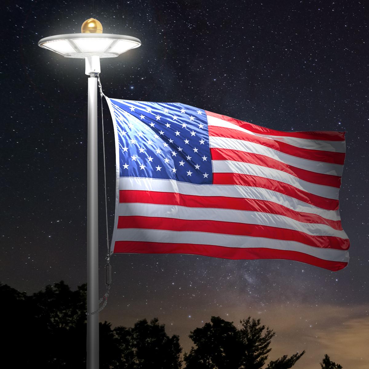 Auto On//Off Night Lighting Top Flagpole Mount 128 led Lights Super Bright Flag Pole LED Solar Powered Flagpole Lights Solar Flag Pole Light Longest Lasting Upto 10 Hrs Waterproof Energy Saving